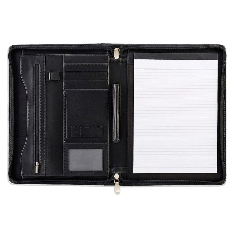 Sandringham Leather Deluxe Zipped A4 Conference Folder